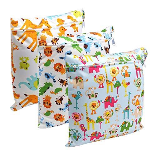 LEADSTAR 3 Stück Windeltasche Wickeltasche Wetbag Nasstaschen wiederverwendbare Organiser Beutel mit Reißverschluss für Baby Kleinkind