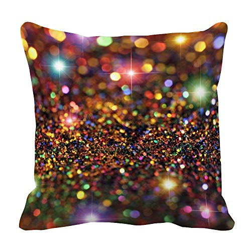 perfecone Home Improvement Cotton Pillowcase Double Glitter Colored Powder Sofa and car Pillow case 1 Pack 23.6 x 23.6 inches/60 cm x 60 cm