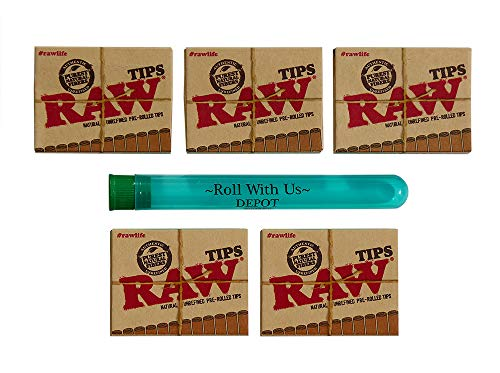 Raw Natural Unrefined Pre-Rolled Filter Tips 5 Pack (21 Per Box) Includes Roll with Us Doobtube