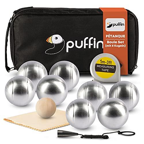 PUFFIN Boule Set - Petanque Set   Boule Spiel mit 8 Metall Kugeln & Zubehör   Outdoor Spielzeug für die ganze Familie   Strand Spiel für Kinder & Erwachsene