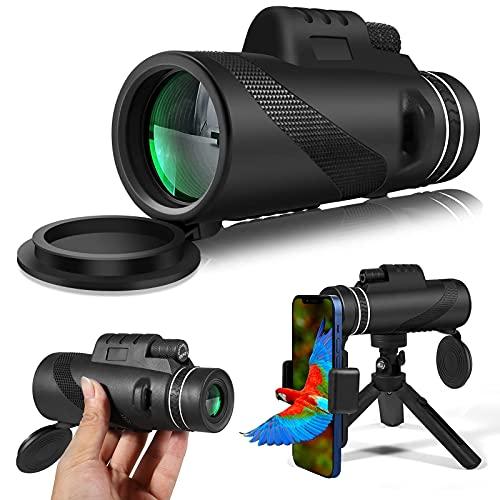 Telescopio monocular 12 x 50 HD con soporte para smartphone, trípode ajustable, de alto rendimiento, prisma BAK4 y FMC para paisajes, animales salvajes, conciertos, camping, juegos deportivos