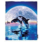 Moslion Soft Cozy Throw Blanket Killer Whales Jump Out of Ocean with Full Moon Fuzzy Warm Couch/Bed Blanket for Adult/Youth Polyester 60 X 80 Inches(Home/Travel/Camping Applicable)