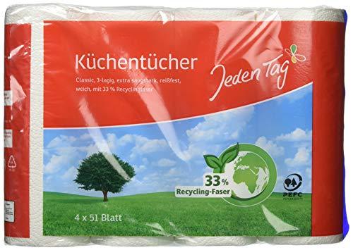 Jeden Tag Küchentücher 3lagig, 4x 51 Blatt, 691 g