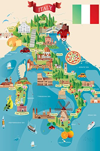 Italian Tourist and Travel Destinations Illustrated Map Cool Wall Decor Art Print Poster 12x18