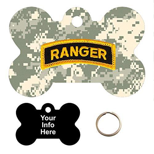 Tag-Z Military Dog Tags - Army Ranger PATCHACU CAMO - PET TAG - Bone Shape Millitary Dog Tags