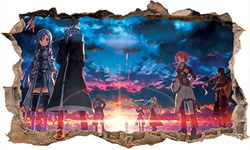 Nensuo Pegatinas de Pared Sword Art Online Battle Wall Decal Decor 3D Art Smash Sticker Vinilo Fondo de Pantalla póster Pegatina de pared-80 * 120CM-C_40*60CM