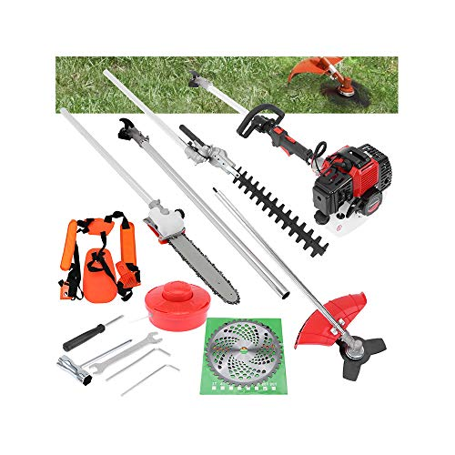 5 in 1 52cc Trimming Tools,Petrol Hedge Trimmer Cordless Gas Pole Chainsaw Pole Saw Brush Cutter Tool Kits with Extension Pole (Red)