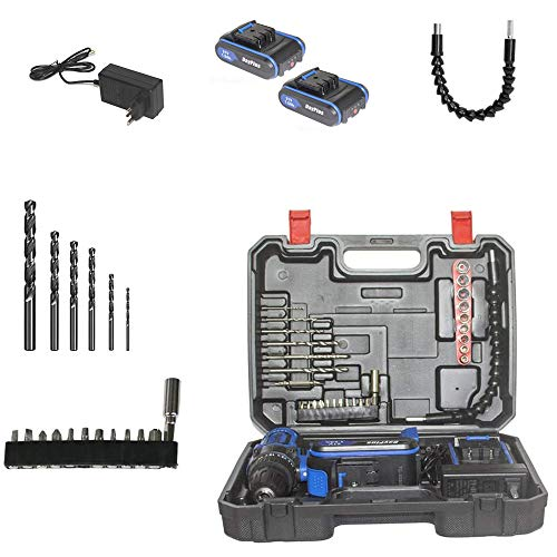 Cordless Drill Driver Kit with 2 Batteries, 21V Power Drill 45Nm 18+1 Clutch, 3/8' Keyless Chuck, Variable Speed & Built-in LED Electric Screw Driver for Drilling Wall, Bricks, Wood, Metal