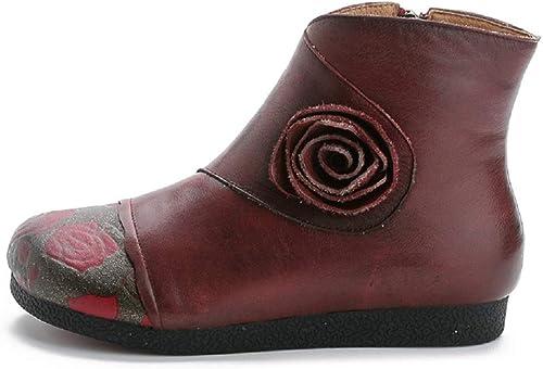 Gaslinyuan Bottes Plates Femmes Chaussures zippées en Cuir imprimé Fleur (Couleuré   Rouge, Taille   EU 37)