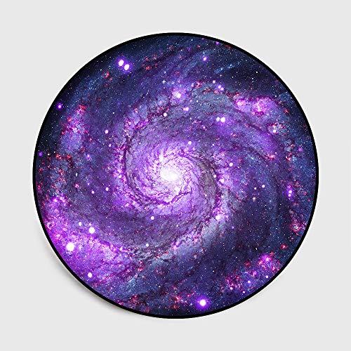 LYzpf Teppich Wohnzimmer Runden 3D Universum Moderne Druckteppich Funky Schlafzimmer Bodenzubehör für Teppiche Geeignet Als Wohnkultur Kinderzimmer Kindermatte,Purple,100cm