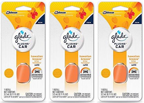 Glade PlugIns Car Air Freshener Refill, Hawaiian Breeze, 0.11 fl oz, White -  690763