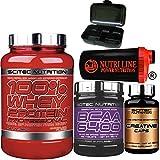 Scitec Nutrition 100% Whey Protein Professional 920 gr Proteine siero del Latte con 125 Bcaa 6400 125 compresse, 120 capsule creatina, Shaker Nutriline e Portapillole (BANANA)