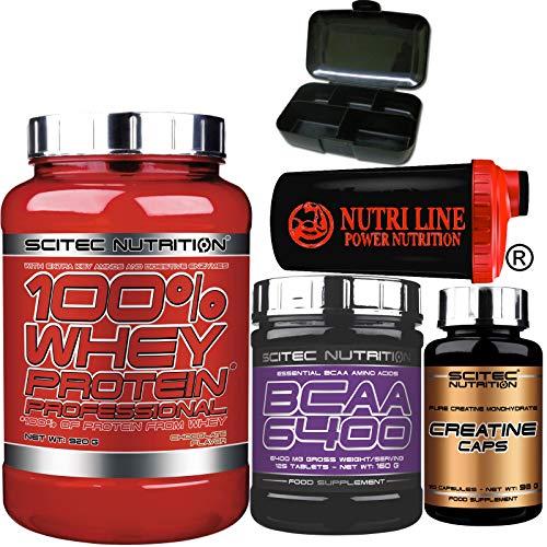 Scitec Nutrition 100% Whey Protein Professional 920 gr Proteine siero del Latte con 125 Bcaa 6400 125 compresse, 120 capsule creatina, Shaker Nutriline e Portapillole (VANIGLIA)