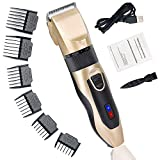 TOOVREN Hair Clippers for Men Professional Hair Trimmer Cutting Cordless Rechargeable Electric Barber Clipper Kit Machine Long Life Battery LCD Display, Titanium Ceramic Blades with 6 Combs (Golden)