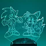 YUNMEI Sonic Juguete Sonic The Hedgehog Action Figure Sonic Miles 3D Nightlight Visual Illusion Led RGB Changing Lamp Sonic Model Toy Doll
