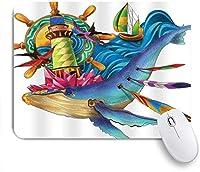 EILANNAマウスパッド シロナガスクジラ灯台ボートヘルムカモメ ゲーミング オフィス最適 おしゃれ 防水 耐久性が良い 滑り止めゴム底 ゲーミングなど適用 用ノートブックコンピュータマウスマット