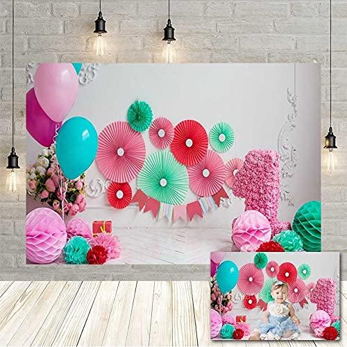 Guirnalda de Flores de Colores bebé niña Fiesta de cumpleaños fotografía telón de Fondo decoración de Vinilo r Estudio fotográfico Vinyl-250x180cm