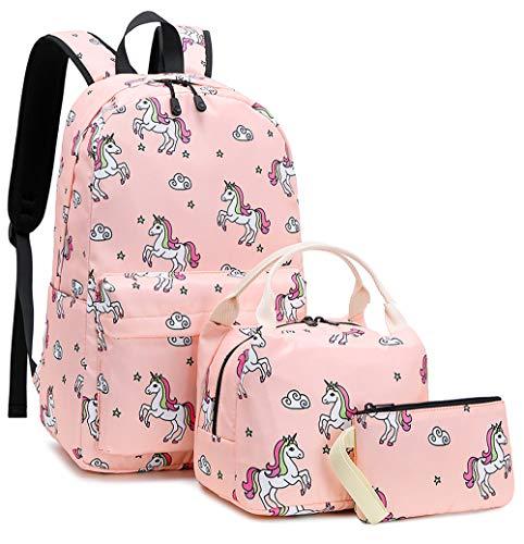 Bookbag Girls School Backpack Cute Schoolbag fit 15inch Laptop Insulated Lunch bag for Teens Kids Travek Daypack (Pink T01)