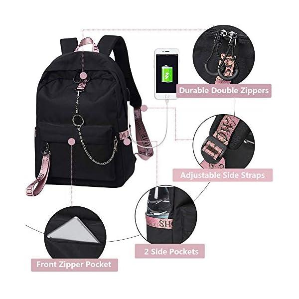 Escuela Mochila Talega de Libros Colegio Ordenador portátil USB Mochila Casual Viajes Daypack para Adolescente Chicas y…