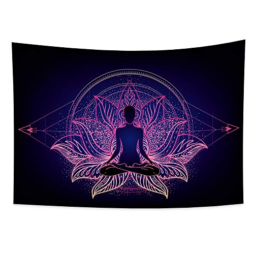 Haoyiyi 59.1X39.4 Inches Psychedelic Chakra Tapestry Trippy Wall Hanging Oriental Buddha Culture Elegant Woman Meditating at Lotus Terrace Brief Wall Tapestries for Bedroom Living Room Decor Bedspread