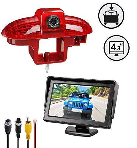 Set: Caméras de recul 3ème feu Stop + Stand-Alone Moniteur 10,9cm (4,3 Pouces) pour FIAT Talento Nissan Primastar Renault Trafic,Combo,Vauxhall Vivaro A(2001-2014)
