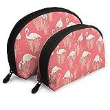 JUKIL Vintage Flamingo Logo Set de 2 Bolsas de Maquillaje Set para Viaje y Almacenamiento Diario Shell Shape Handy Cosmetic Pouch Case