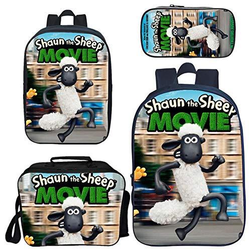 QWEIAS Mochila para Niños 4pcs - Shaun The Sheun 3D Kids School Bag - Mochila De 16.5 Pulgadas Unisex para 3-10 Años - Regalo E