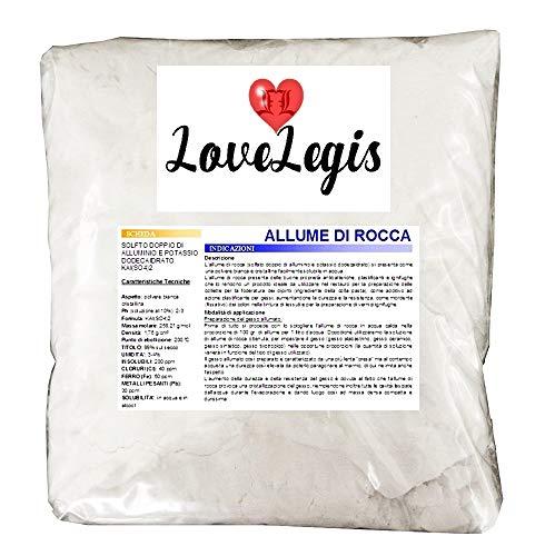 Allume Rocca Steen, Solphat dubbel aluminium en Potassio, dodecahydratiseerd, additief voor krijt, duurzaam, antibacterieel, vlamvertragend, levering met kristallen, 1 kg