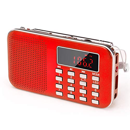 Mini Portable Radio AM FM Pocket Radio with LED Flashlight, Digital Radio Speaker Support Micro SD/TF Card/USB, Auto Scan Save, 1200mAh Rechargeable Battery Operated, by PRUNUS[Latest Version]