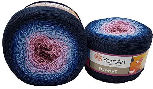 YarnArt Flowers 500 Gramm Bobbel Wolle Farbverlauf, 55% Baumwolle, Bobble Strickwolle Mehrfarbig (Nachtblau blau rosa Altrosa 273)