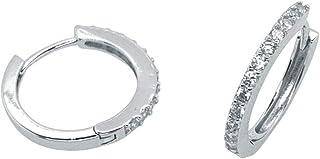 Bevilles Sterling Silver Cubiz Zirconia Small Hoop Earrings