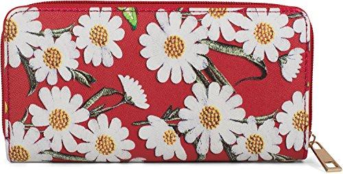 styleBREAKER portafogli con fiori e motivo a farfalla, chiusura con cerniera, portamonete, da donna 02040106, colore:Rosso