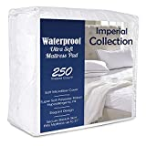 Global Weavers Dorm Size Waterproof Twin Extra Long Fitted Mattress Pad, Imperial Dormitory Collegiate Size Hypoallergenic 3 Layer Mattress Protector, 21 Inch Deep, No Vinyl , Twin XL