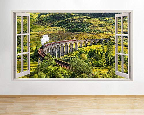 Wandaufkleber H510 Train Railway Green Window Wall Decal 3D Art Stickers Vinyl Room