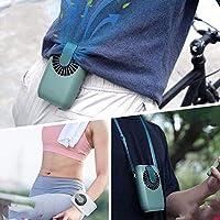 【2020最新】首掛け携帯扇風機 腰ベルト USB充電式 (スモークグリーン)