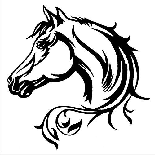 20 * 20 CM Reflektierende Auto Aufkleber Pferd Schöne Tier Muster Karosserie Dekorative Aufkleber Auto Aufkleber Schwarz/Weiß(schwarz)