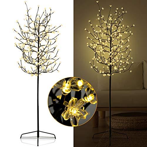 Karpal 150cm LED Kirschbaum mit 160 Warmweiß Lichtern Beleuchtet LED Lichterbaum die Lichterzweige Sind Flexibel Baum für Weihnachten Garten Außen Dekoration
