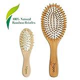 Nipoo Spazzola per capelli in legno naturale + Mini spazzola da viaggio gratuita - Eco-Fri...