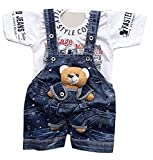 Tendercare Baby boy & Baby Girl Teddy Bear Dungaree Set with Tshirt 0-1 Year || Dress for Baby boy || Clothes for Baby boy and Girl (3-6 Months, White-Blue)