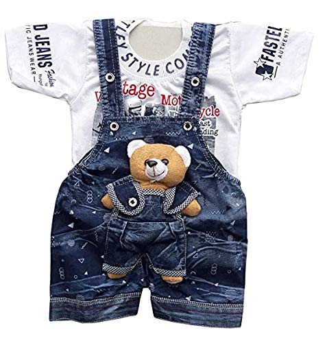 Tendercare Baby boy & Baby Girl Teddy Bear Dungaree Set with Tshirt 0-1 Year    Dress for Baby boy    Clothes for Baby boy and Girl (3-6 Months, White-Blue)