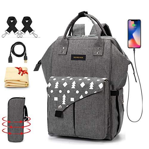 Baby Wickelrucksack Wickeltasche mit Wickelunterlage Multifunktional Große Kapazität Babyrucksack Reiserucksack für Unterwegs (Dunkelgrau)