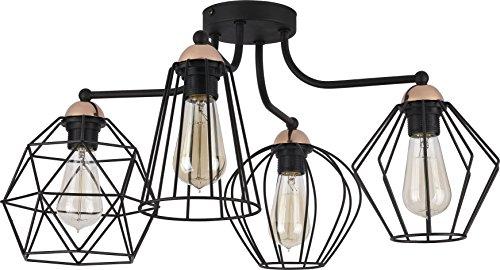 Hänge Lampe Wohnzimmer Leuchte Käfig Hängelampe Retro Schwarz (Modell V)