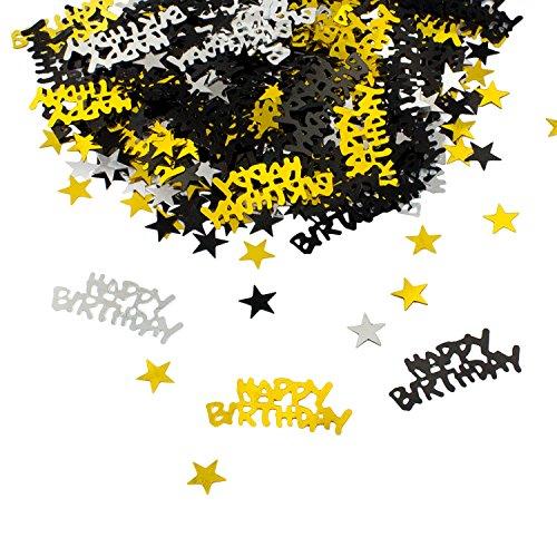 Oblique-Unique® Happy Birthday Geburtstag Konfetti Gold Silber Schwarz Sterne Tisch Deko 500 Stück