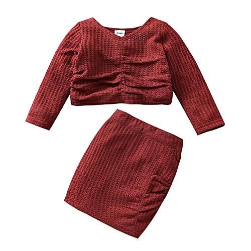 2Pcs Toddler Baby Girls Skirt Set Fashion Solid Color Long Sleeve Tops Skirt Suit Casual Outfits