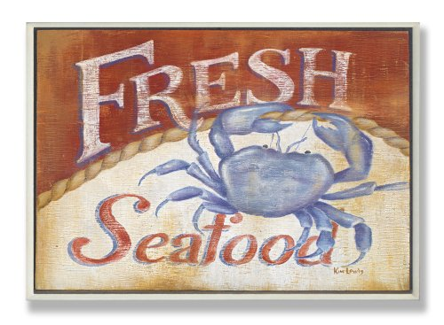 Stupell Home Décor Fresh Seafood Blue Crab Rect Wall Plaque, 10 x 0.5 x 15, Proudly Made in USA