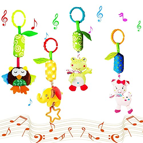 Baby Pram Pushchair Toys 4pcs Plush Animal Wind Chime Hanging Rattles for Infant Bed Crib Newborn Sensory Educational Toy for Babies Boys and Girls from 0 to 12 Months