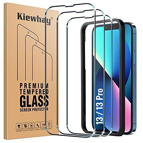 Kiewhay Protector de Pantalla Compatible con iPhone 13/ iPhone 13 Pro Cristal Templado 6,1'', [9H Dureza] [Sin Burbujas] [con Marco de Instalación] Vidrio Templado para iPhone 13 Pro - 3 Piezas