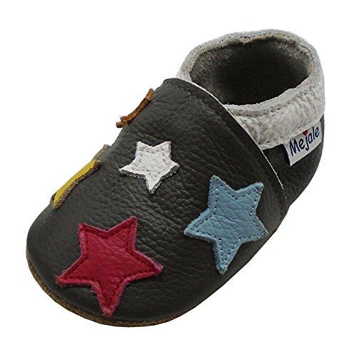 Mejale Chaussons Enfant Bébé en Cuir Doux-Chaussons Cuir Souple-Chaussures Premiers Pas-Dessin animé Étoiles (24-36 Mois/6.2 Pouce, Gris Foncé)