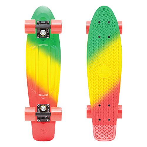 Penny Complete 22'' Fades Series Skateboard, Green/Yellow/Red (Jammin), 22