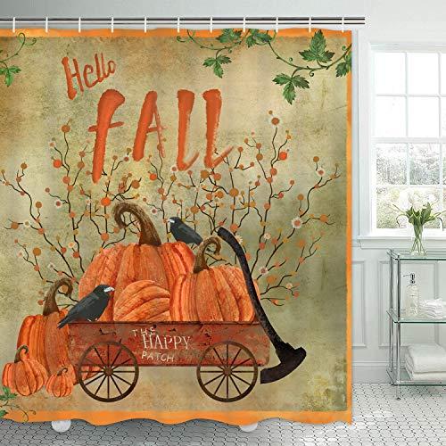 Thanksgiving Duschvorhang, Vintage Rustikaler Duschvorhang mit 12 Haken, Herbst Kürbis Bauernhaus Badezimmer Duschvorhang, Hello Fall Duschvorhang für Badezimmer, 175,3 cm B x 70 L